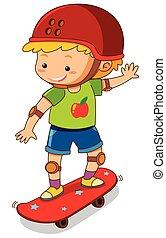 Little boy on red skateboard