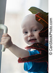 Little boy on the window with a flower