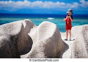 Little boy on vacation in Seychelles - Little boy at Anse...