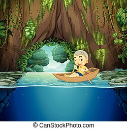 Little boy on wooden rowboat