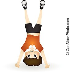 Little boy performing somersault - colourfull