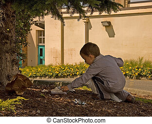 Little Boy Picking Up Litter - This young boy is helping the...