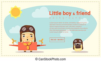 Little boy pilot and friend background , vector, ...