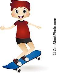 Little boy play skateboard