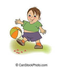little boy playing ball