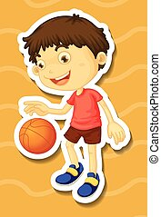 Little boy playing basketball