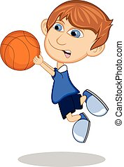 Little boy playing basketball