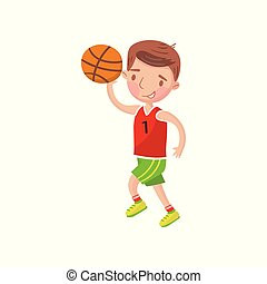 Little boy playing basketball, kids physical activity cartoon vector Illustration