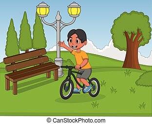 Little boy playing bicycle