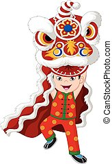 Little boy playing chinese lion dancing