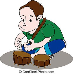 Little boy playing drum.