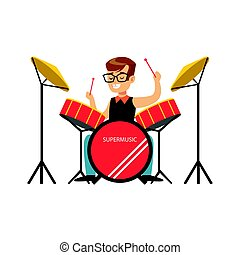 Little boy playing drums, little drummer. Colorful character vector Illustratio