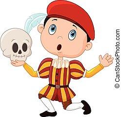 Little boy playing Hamlet - Vector illustration of Little...