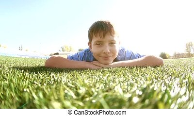 little boy playing in a stadium a healthy lifestyle. teen...
