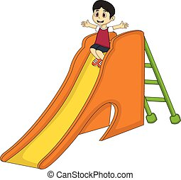 Little boy playing on a slide