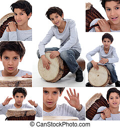 little boy playing on a traditional drum