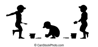 little boy playing on the beach silhouettes set 1 - set of...
