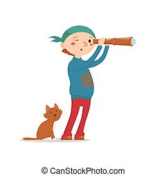 Little boy playing pirates with cat and telescope