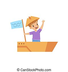 Little boy playing sailor with boat made of cardboard box vector Illustration on a white background