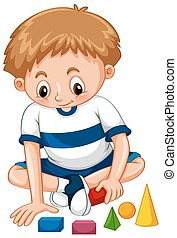Little boy playing shapes