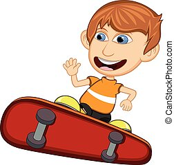 Little boy playing skate board