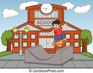 Little boy playing skateboard at the school cartoon vector ...