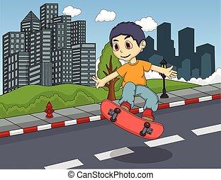 Little boy playing skateboard - color full