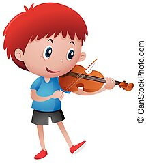 Little boy playing violin