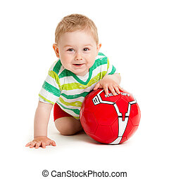 Little boy playing with a ball. beautiful little kid play with ball on white background, isolated