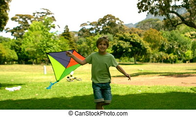Little boy playing with a kite