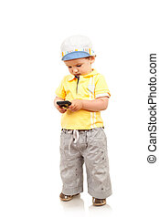 boy playing with a mobile phone