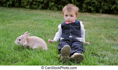 little boy playing with a rabbit