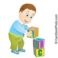 little boy playing with abc alphabet cubes. vector cartoon background
