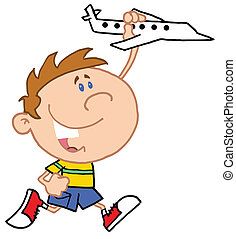 Little Boy Playing With Airplane
