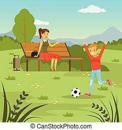Little boy playing with ball on the lawn, his mom sitting on the bench on nature background, family leisure flat vector illustration