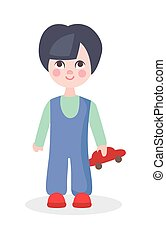 Little Boy Playing with Car Toy Flat Vector Icon