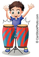 Little boy playing with drums
