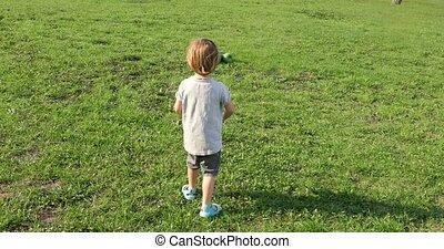 Little boy plays radio control car outdoor on field