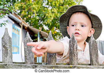 Little boy pointing through picket fence