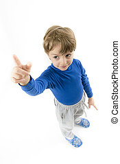 Little Boy Pointing Upwards