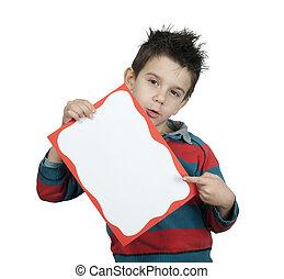 Little boy points whiteboard