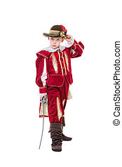 Little boy posing in musketeer suit