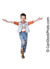 Little boy posing isolated on white background
