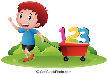 Little boy pulling wagon with numbers