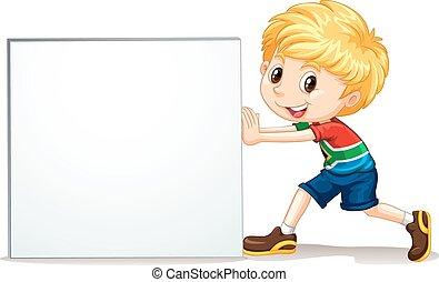 Little boy pushing blank sign