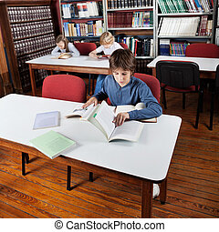 Little Boy Reading Books In Library