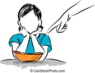 little boy refusing to eat vector illustration