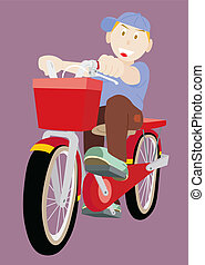 Little Boy Rides Bicycle