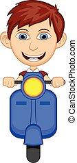 Little boy riding a scooter cartoon