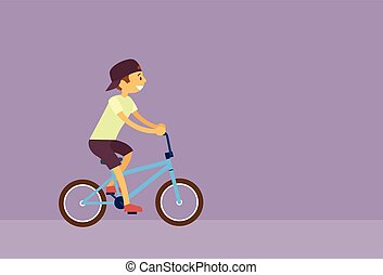 Little Boy Riding Bicycle Flat Vector